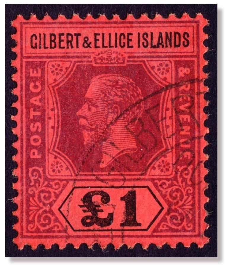 Gilbert Ellice Islands 1912 24 1 KGV Absolutely SUPERB Used The Rarest High Value From Entire Pacific Only A Few Genuine Are