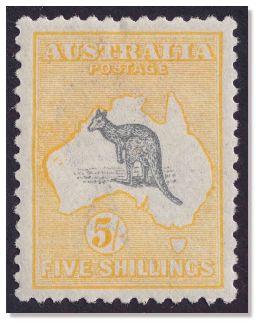 1918 Third Watermark 5/- Kangaroo Superb MVLH, with Striking Error: This  variety is almost never seen offered - have had not had this one for  decades.