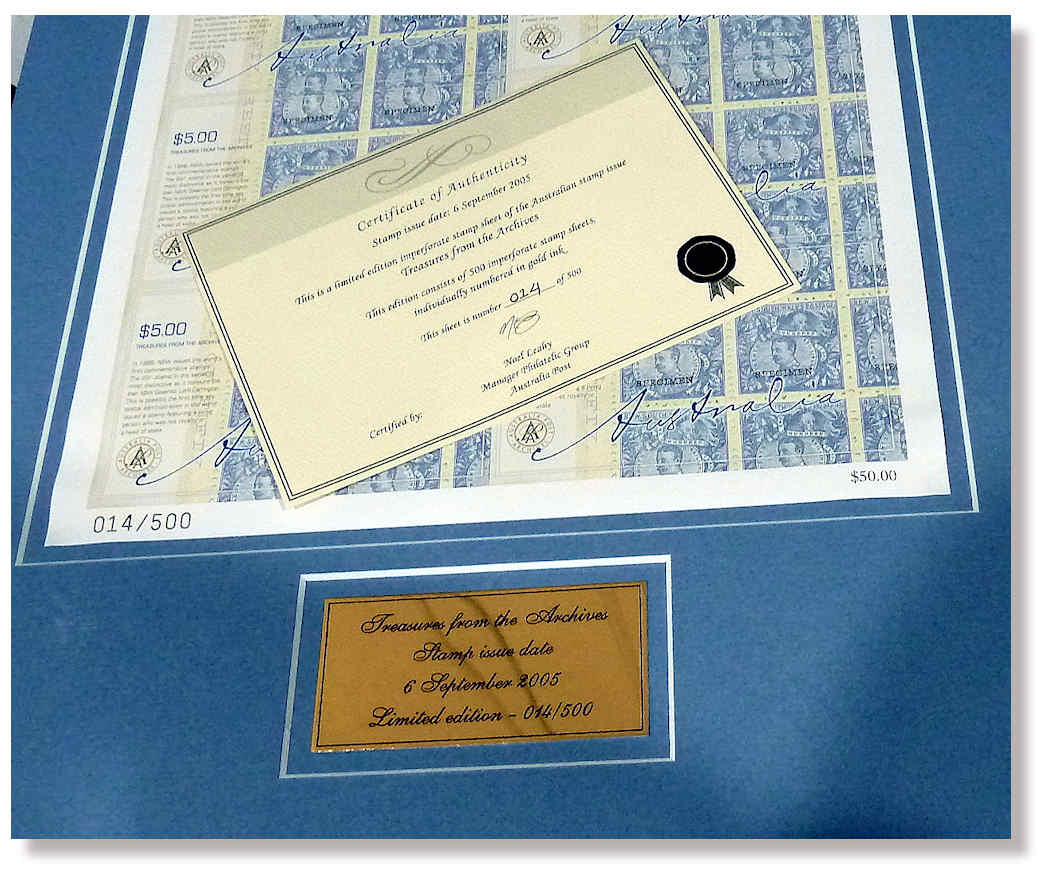 Stamp Framed IMPERF Sheet 10 Of 5 Treasures The Archives Features NSW 1888 20 1 Lord Carrington Highest Face Value Postage