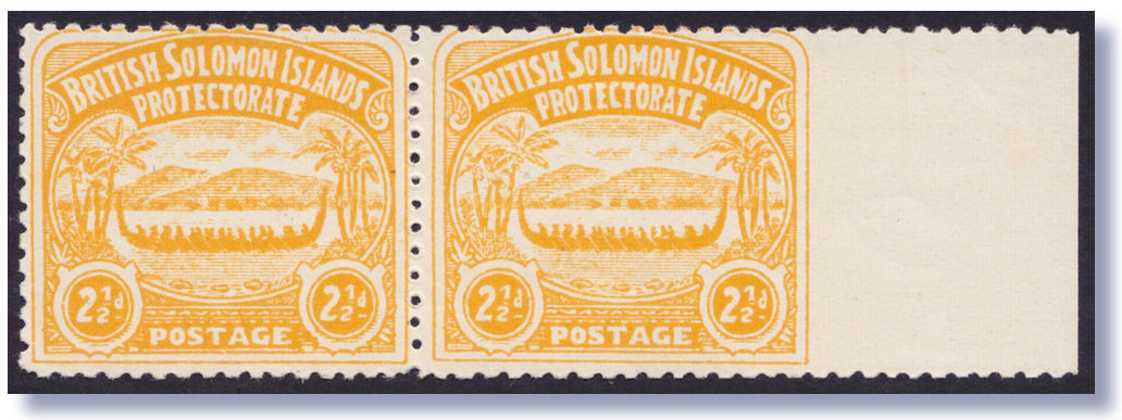 1907 Large War Canoe 2 1 D Orange Yellow Very Fresh Pair IMPERF AT RIGHT One The Classic British Pacific Stamp Issues With A True Global Following