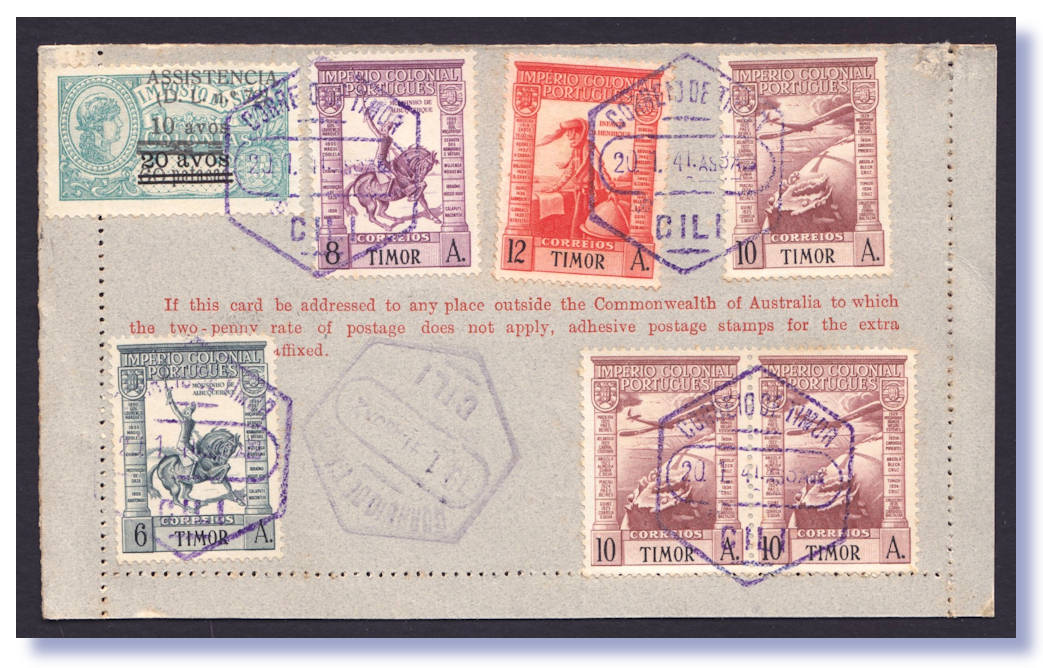 1941 Qantas Portuguese Timor To Australia Unique WW2 Boomerang Cover Cat A900 Striking 2d KGVI Lettercard Uprated Correct 5d Rate With 3d Blue
