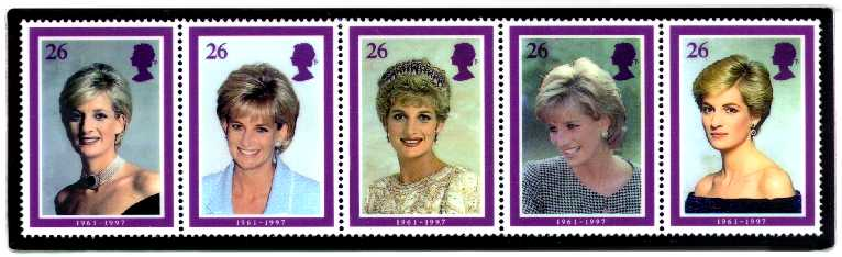 British lady diana stamps printed 5 days after fatal car accident
